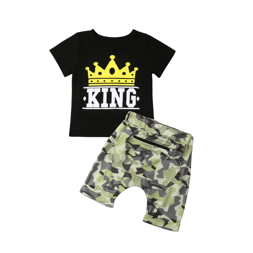 King Crown Top + Camo Shorts