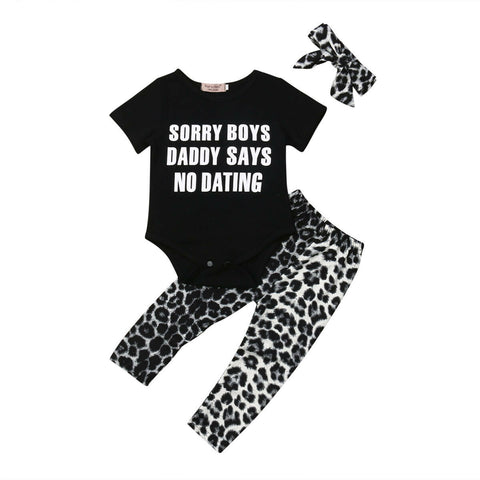 No Dating Bodysuit + Leopard Pants 3pcs Set