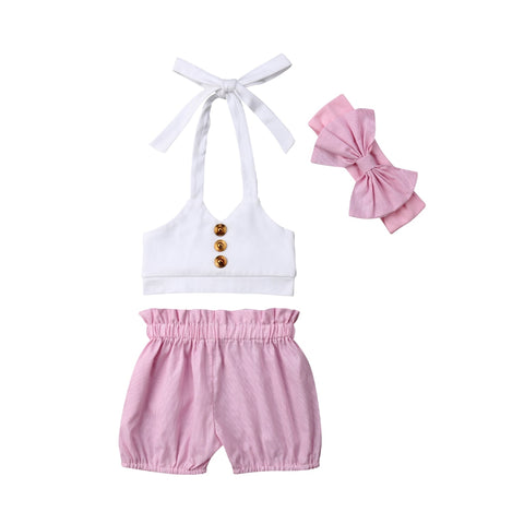 Irene Strap Top + Pink Shorts 3pcs Set