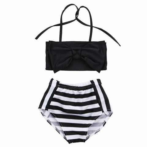 Ava Striped High Waist Bathing Suit