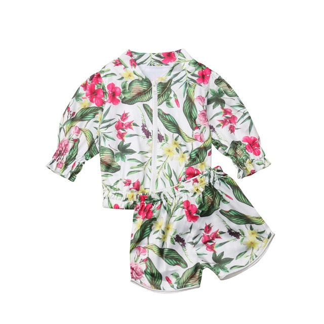 Zia Floral Zipper Top + Shorts