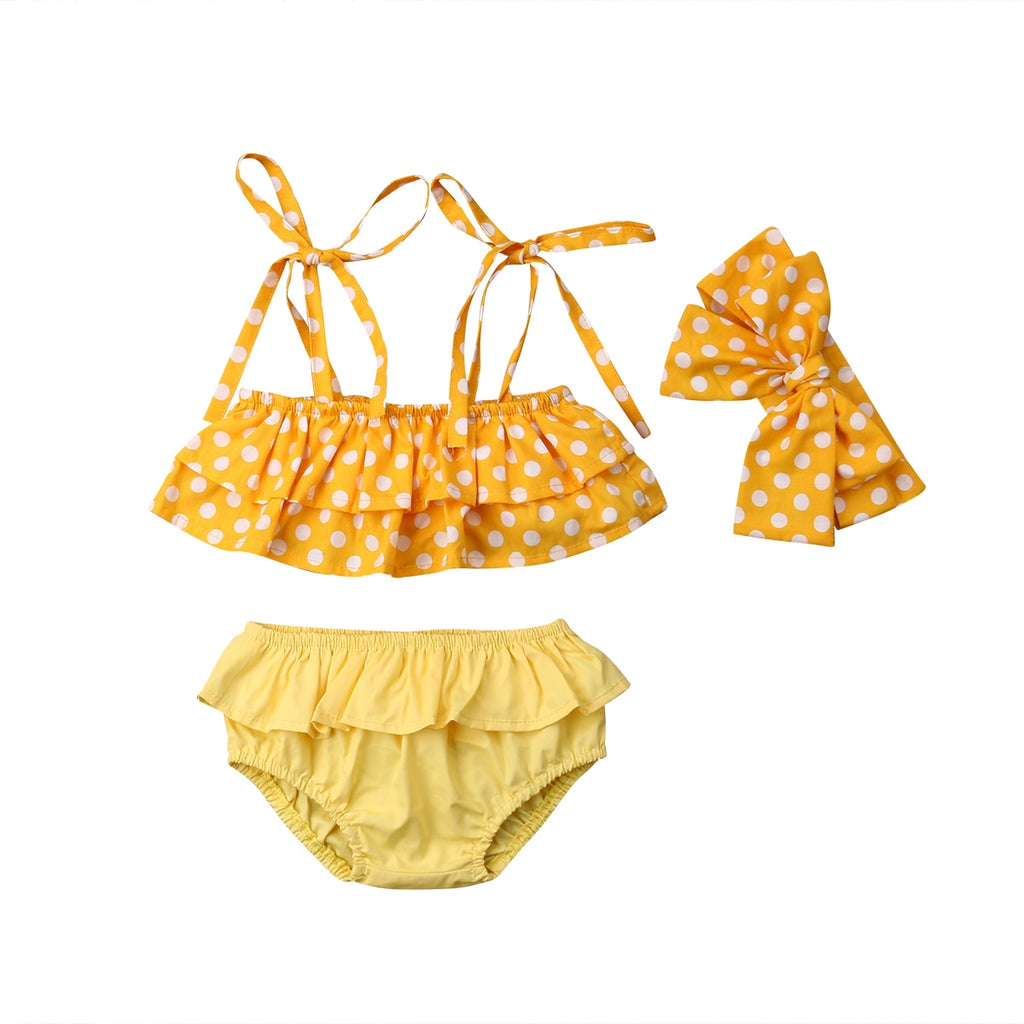 Polka Ruffle Bathing Suit 3pcs Set