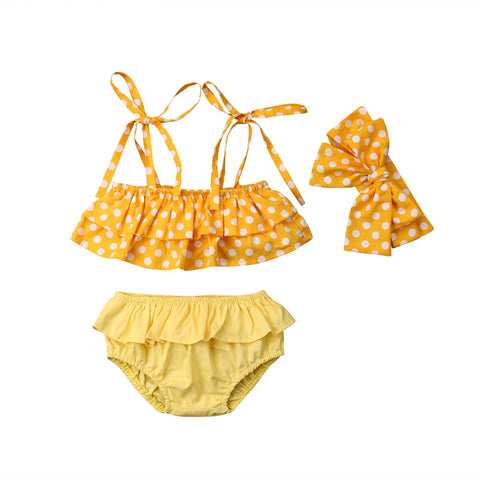 f245410415ee0 Polka Ruffle Bathing Suit 3pcs Set