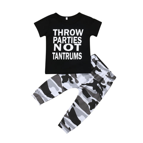 Parties Not Tantrums Top + Camo Pants
