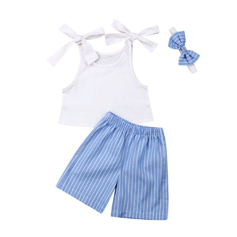 Trisha Strap Top + Stripe Shorts 3pcs Set
