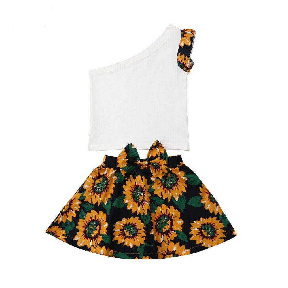 Faye One Shoulder Top + Sunflower Bow Skirt