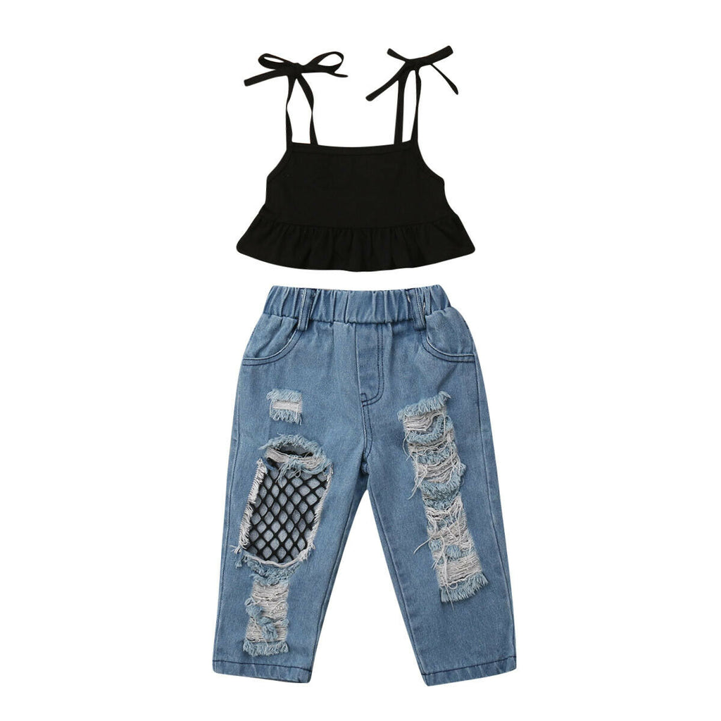Natasha Strap Top + Fishnet Distressed Jeans