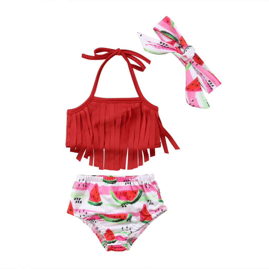 Watermelon Tassel Bathing Suit 3pcs Set