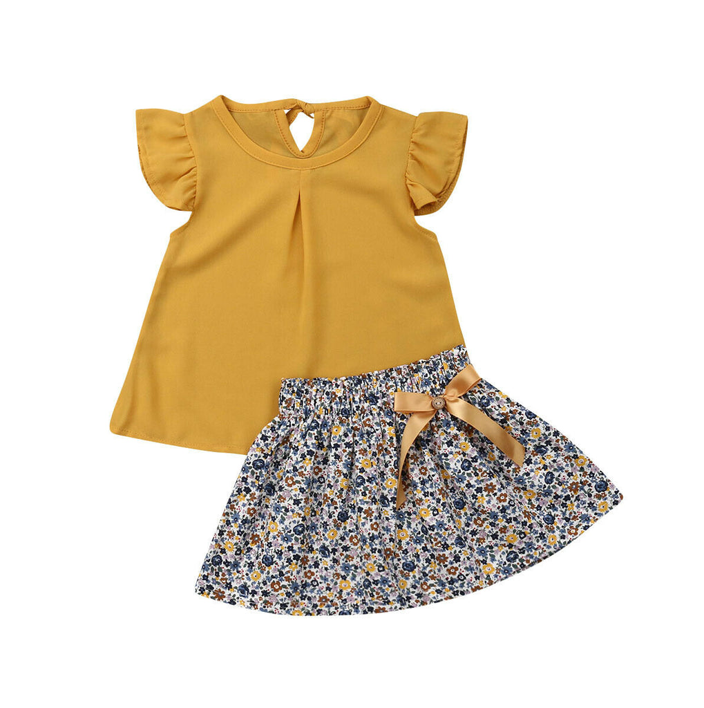 Winona Ruffle Top + Floral Bow Skirt