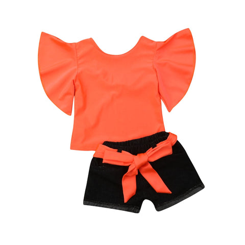 Jade Flare Sleeve Top + Bow Shorts