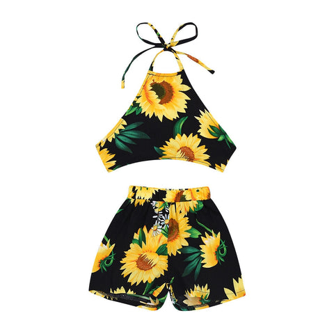 Alora Sunflower Tank Top + Shorts