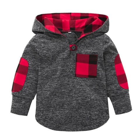 Plaid Hoodie Pocket Sweater