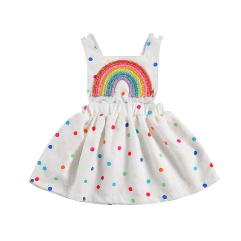 Rainbow Polka Overall Dress