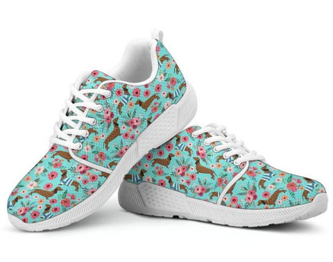 Dachshund Flower Athletic Sneakers