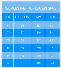 Womens High Top Shoe Size Chart