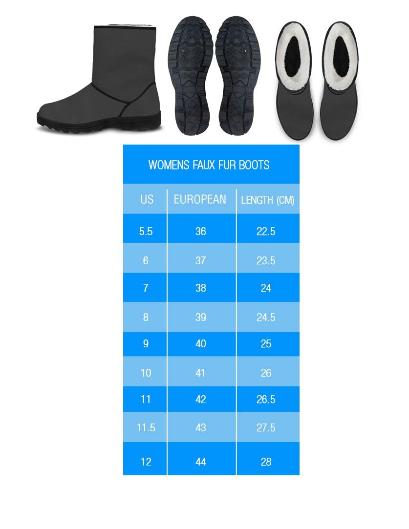 Faux Fur Boots Sizing Chart