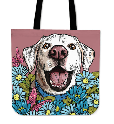 Illustrated White Labrador Retriever Linen Tote Bag
