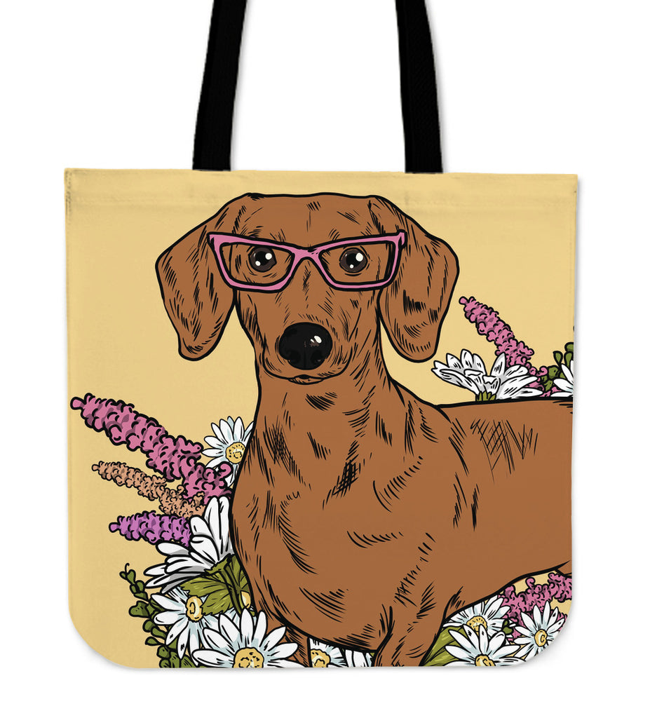 Illustrated Dachshund Linen Tote Bag