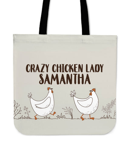 Custom Crazy Chicken Lady Linen Tote Bag
