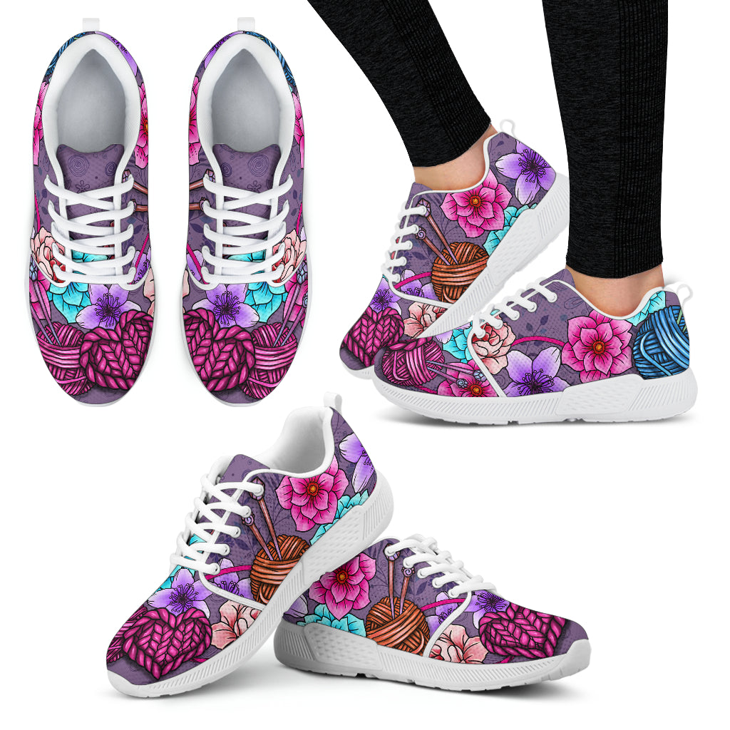Floral Knitting Athletic Sneakers