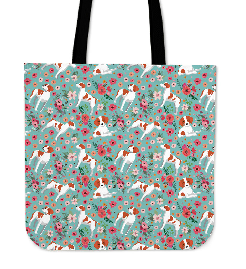 Brittany Flower Linen Tote Bag