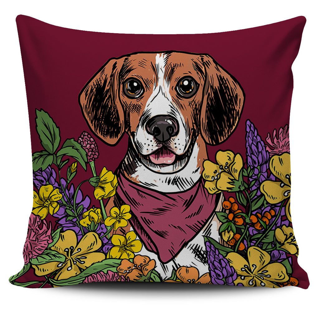 Illustrated Beagle Pillow Cover