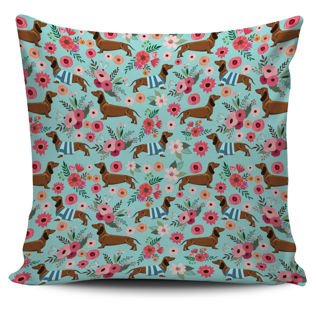 Dachshund Flower Pillow Cover - Promo