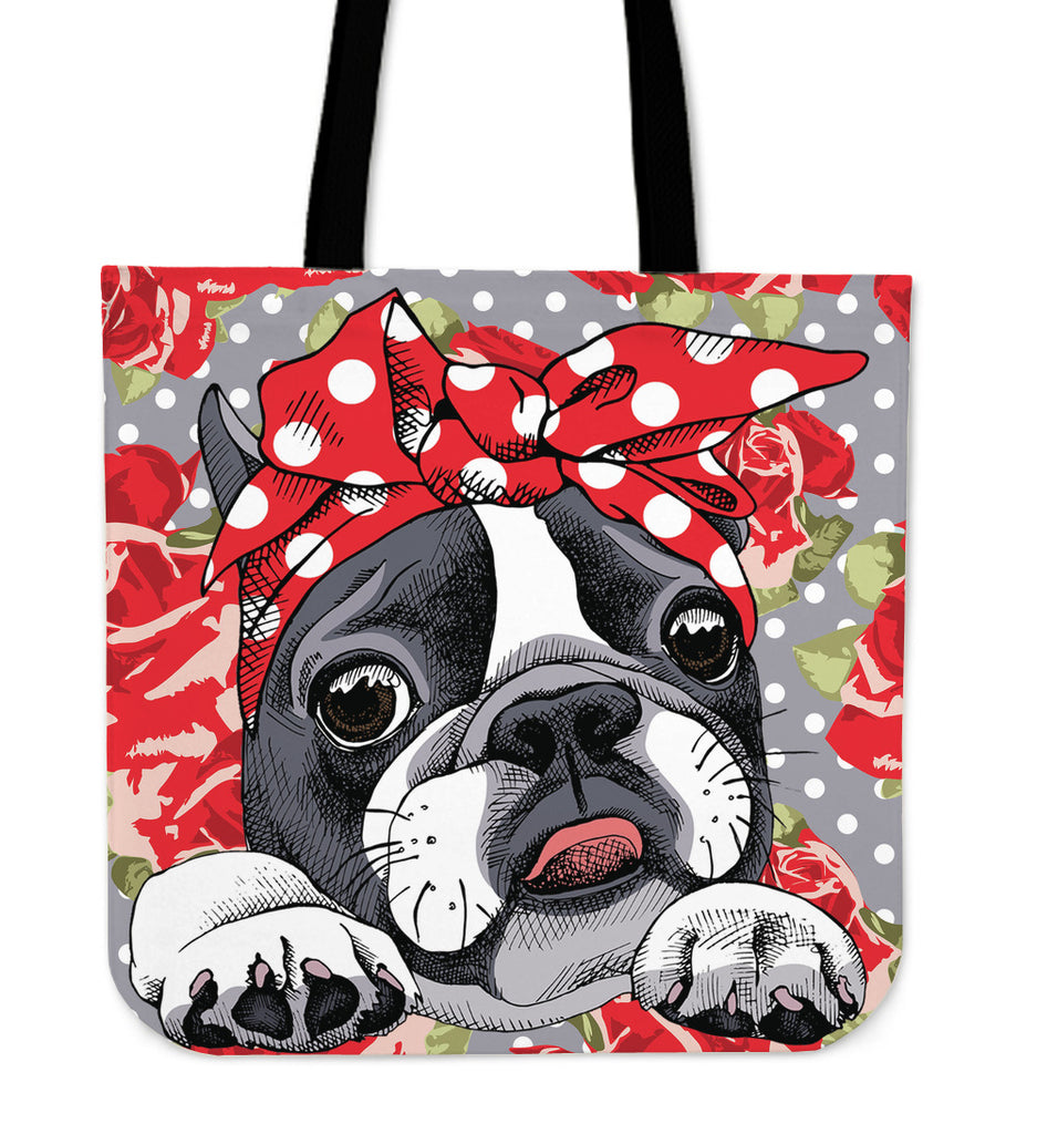 Floral Boston Terrier Red Linen Tote Bag