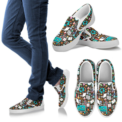 Science Pattern Slip Ons