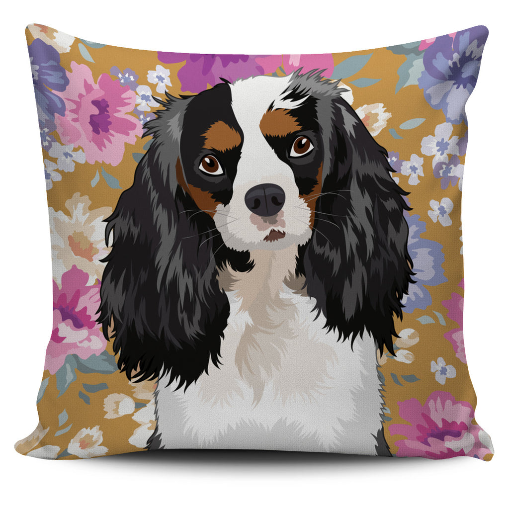 King Charles Spaniel Dog Portrait Pillow Cover