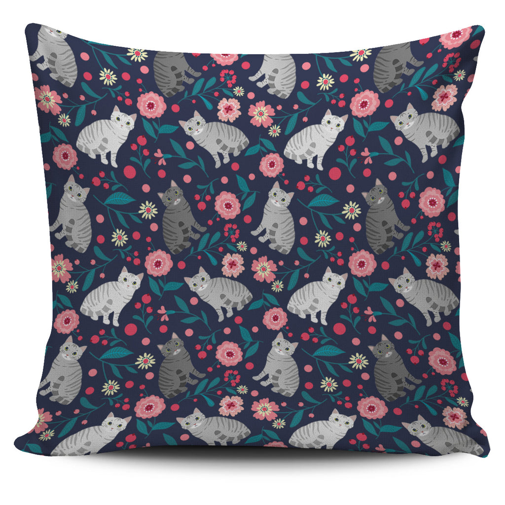 American Shorthair Cat Flower Pillow Cover-Clearance