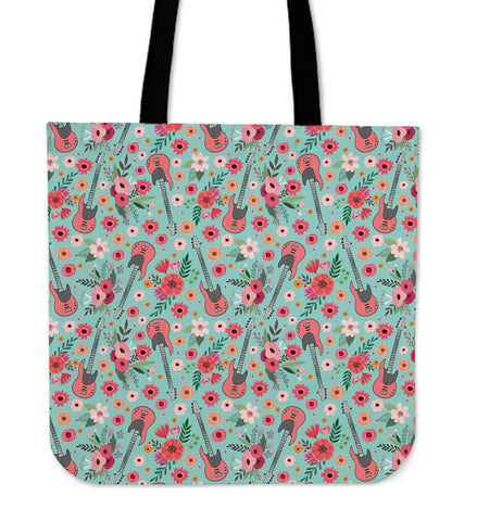 Electric Guitar Flower Linen Tote Bag