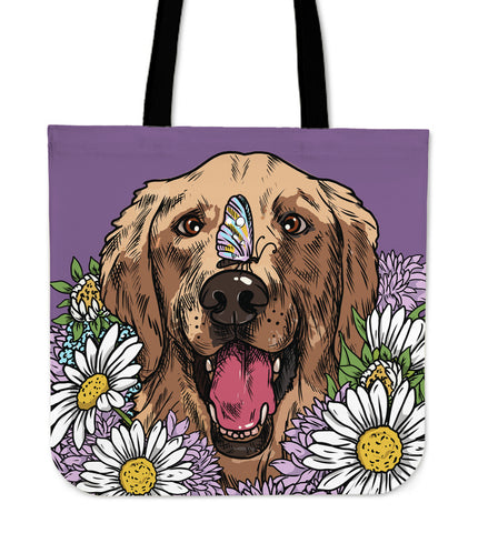 Illustrated Golden Retriever Linen Tote Bag
