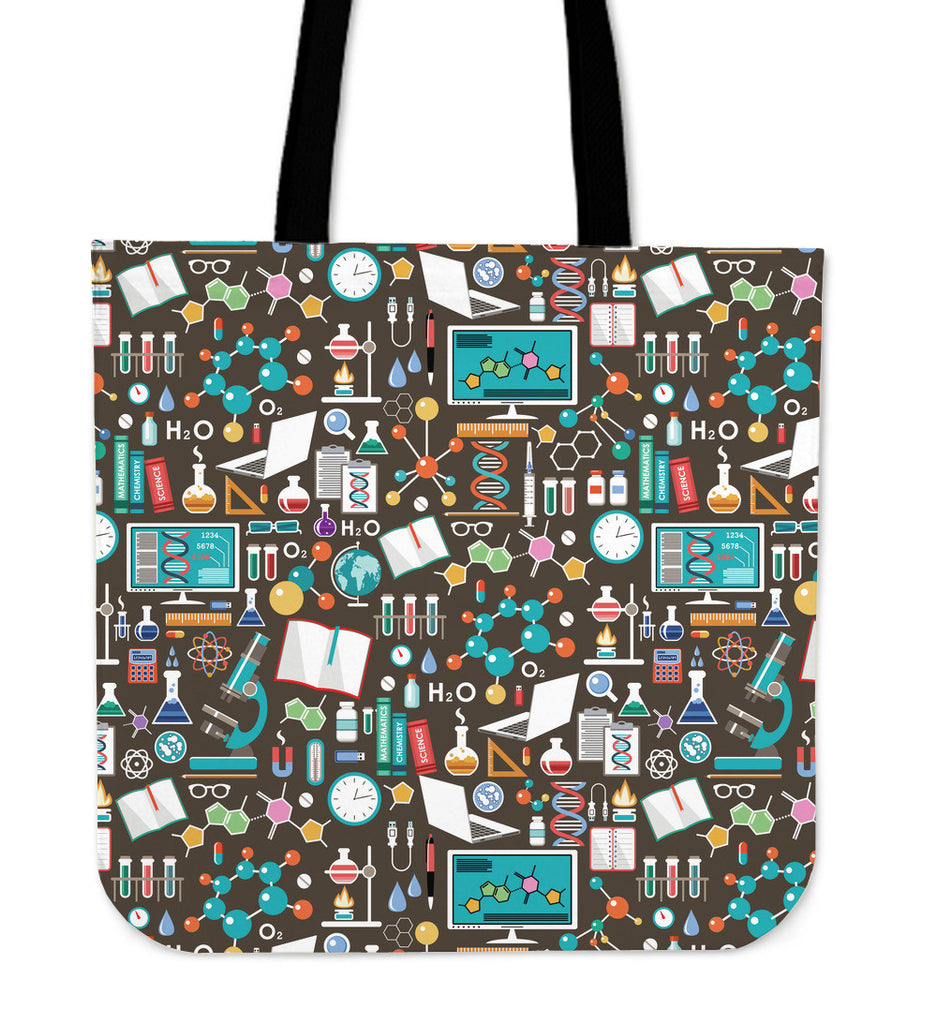 Science Pattern Linen Tote Bag