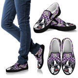 Floral Boston Terrier Purple Slip Ons-Clearance