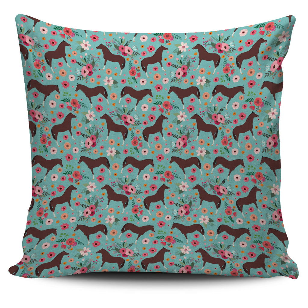 English Thoroughbred Flower Pillow Cover