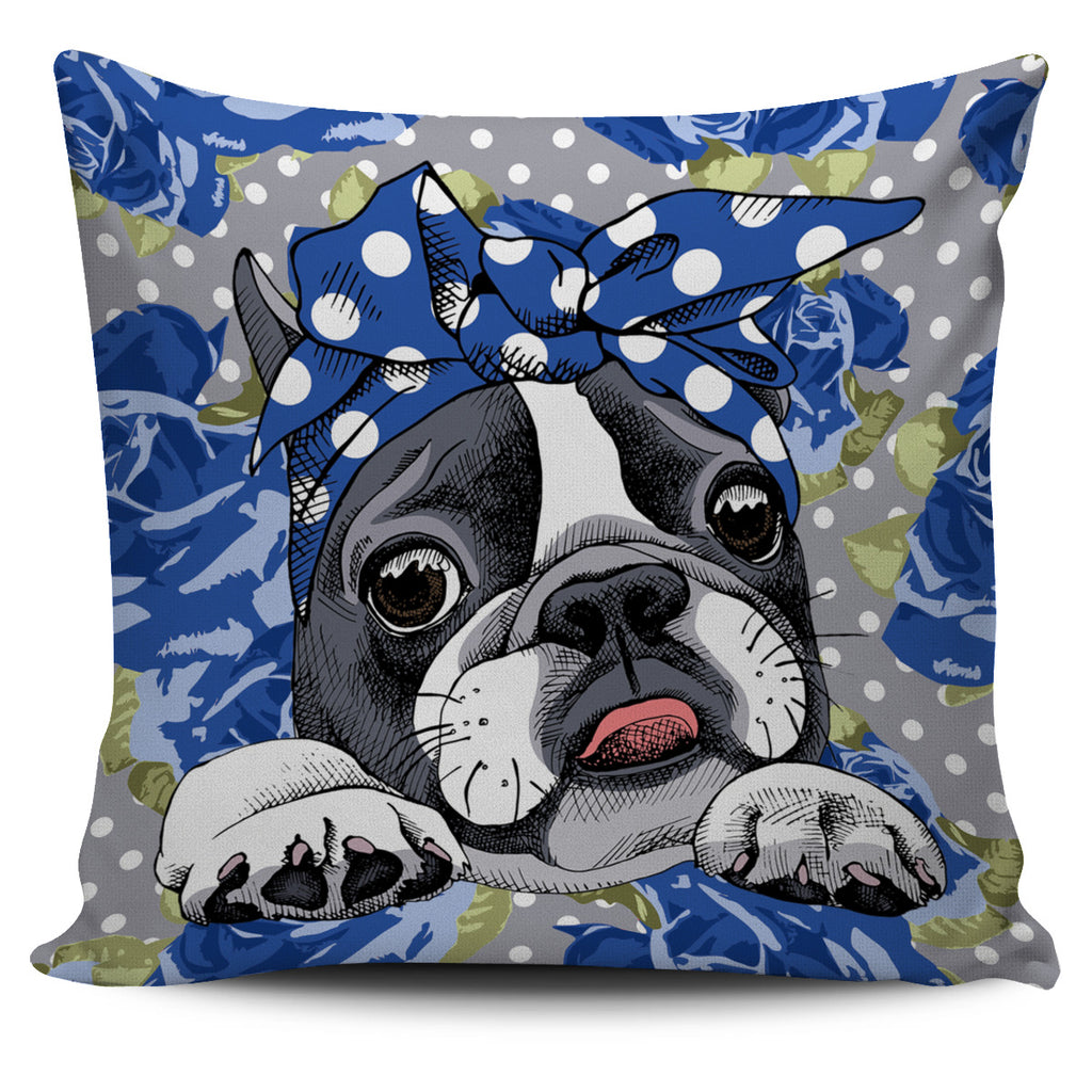 Floral Boston Terrier Blue Pillow Cover