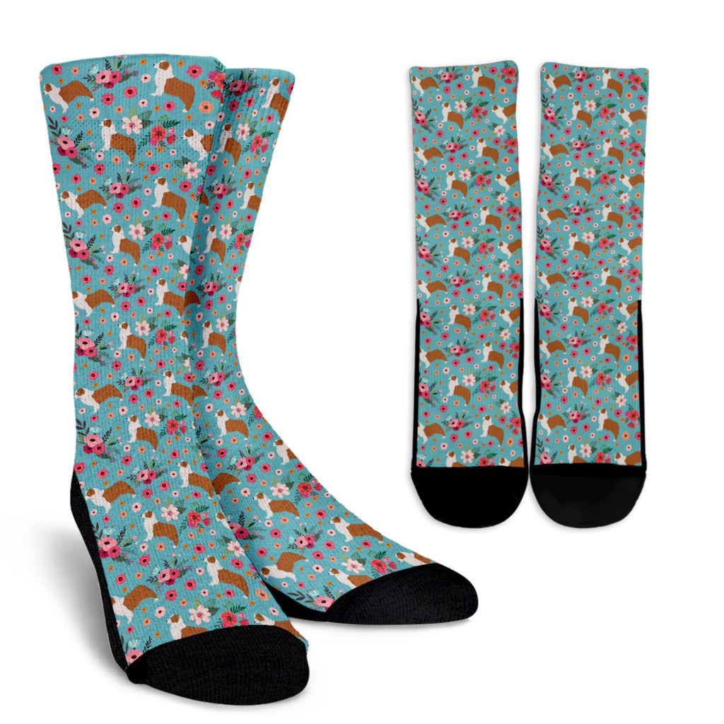 Australian Shepherd Flower Socks