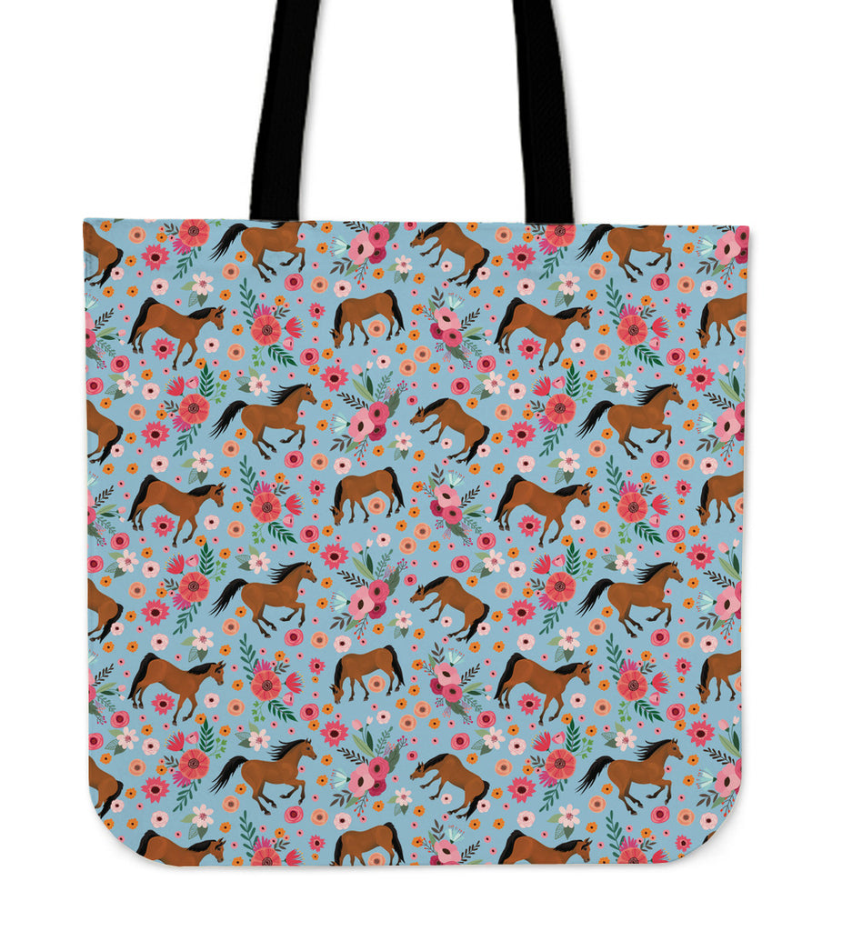 Arabian Horse Flower Linen Tote Bag
