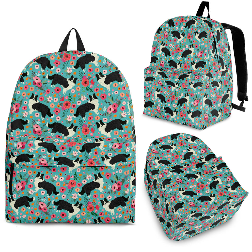 Border Collie Flower Backpack