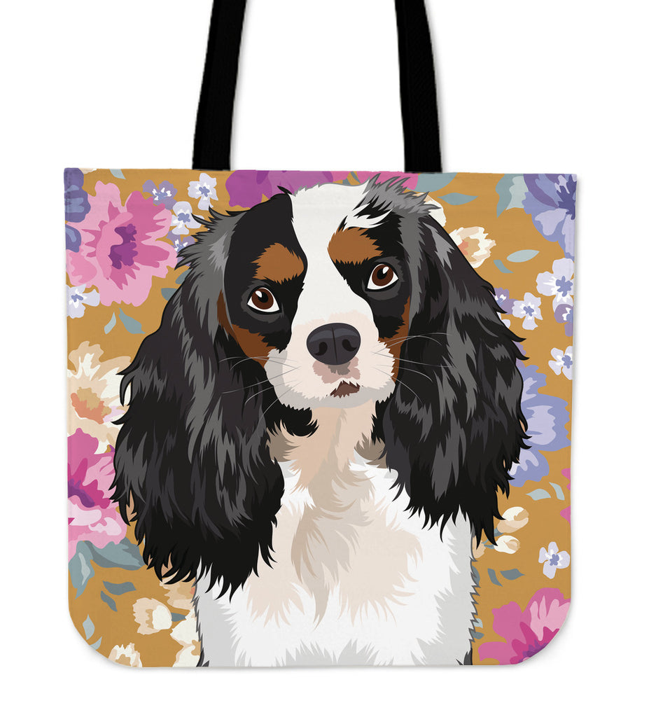 King Charles Spaniel Dog Portrait Linen Tote Bag - Promo