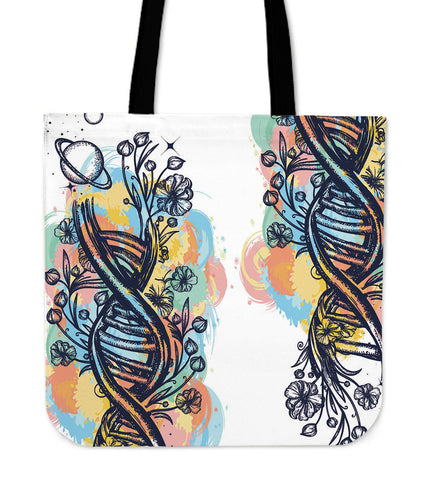 Watercolor DNA Strands Canvas Tote Bag