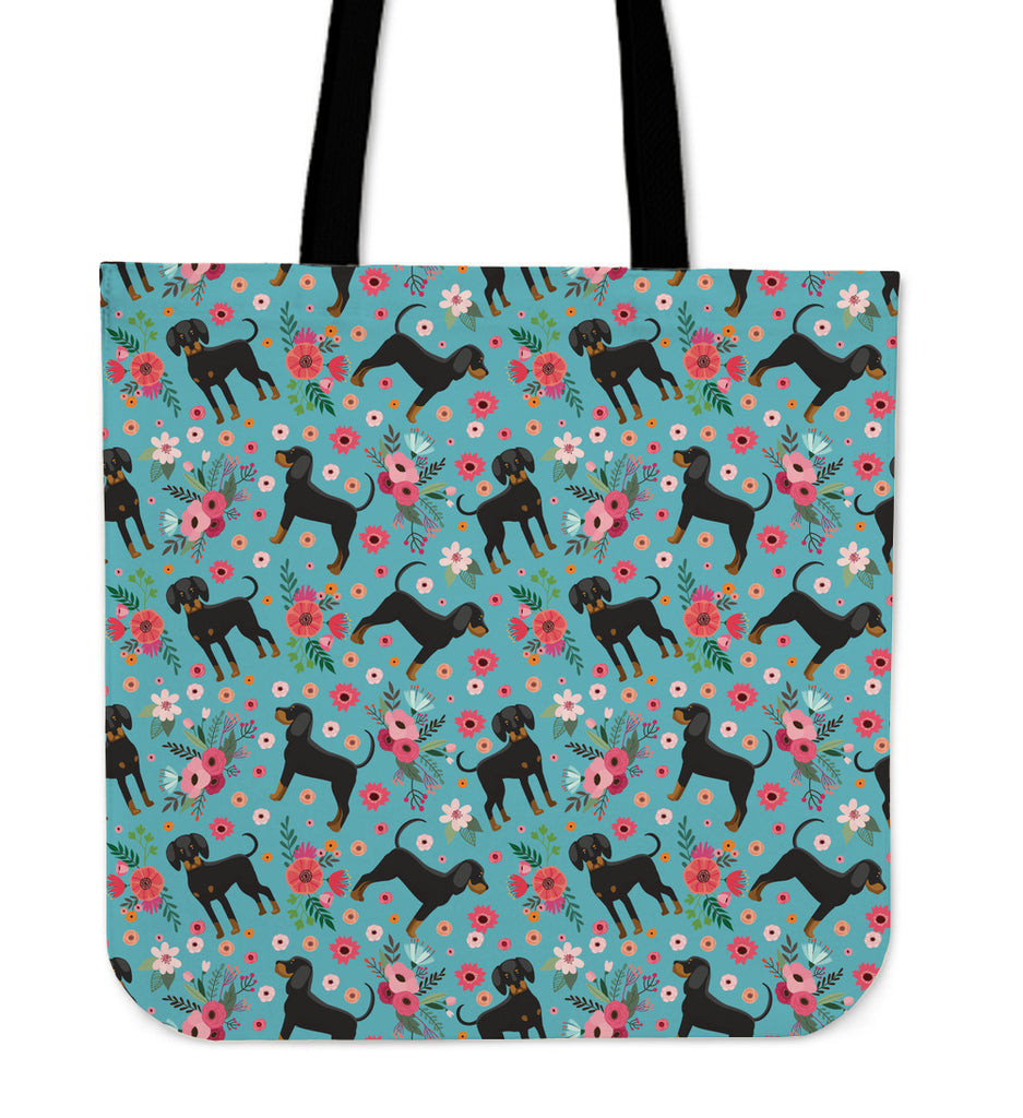 Coon Hound Flower Linen Tote Bag