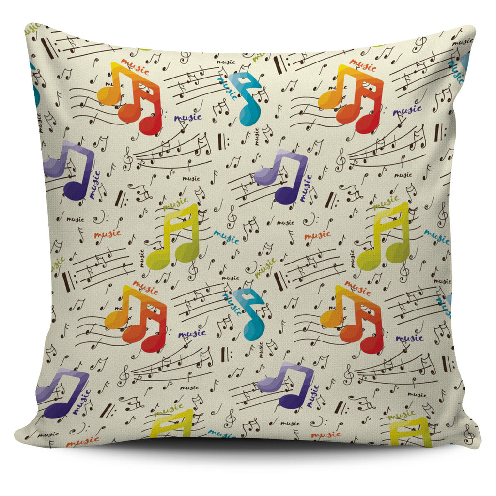 Colorful Music Notes Pillow Cover