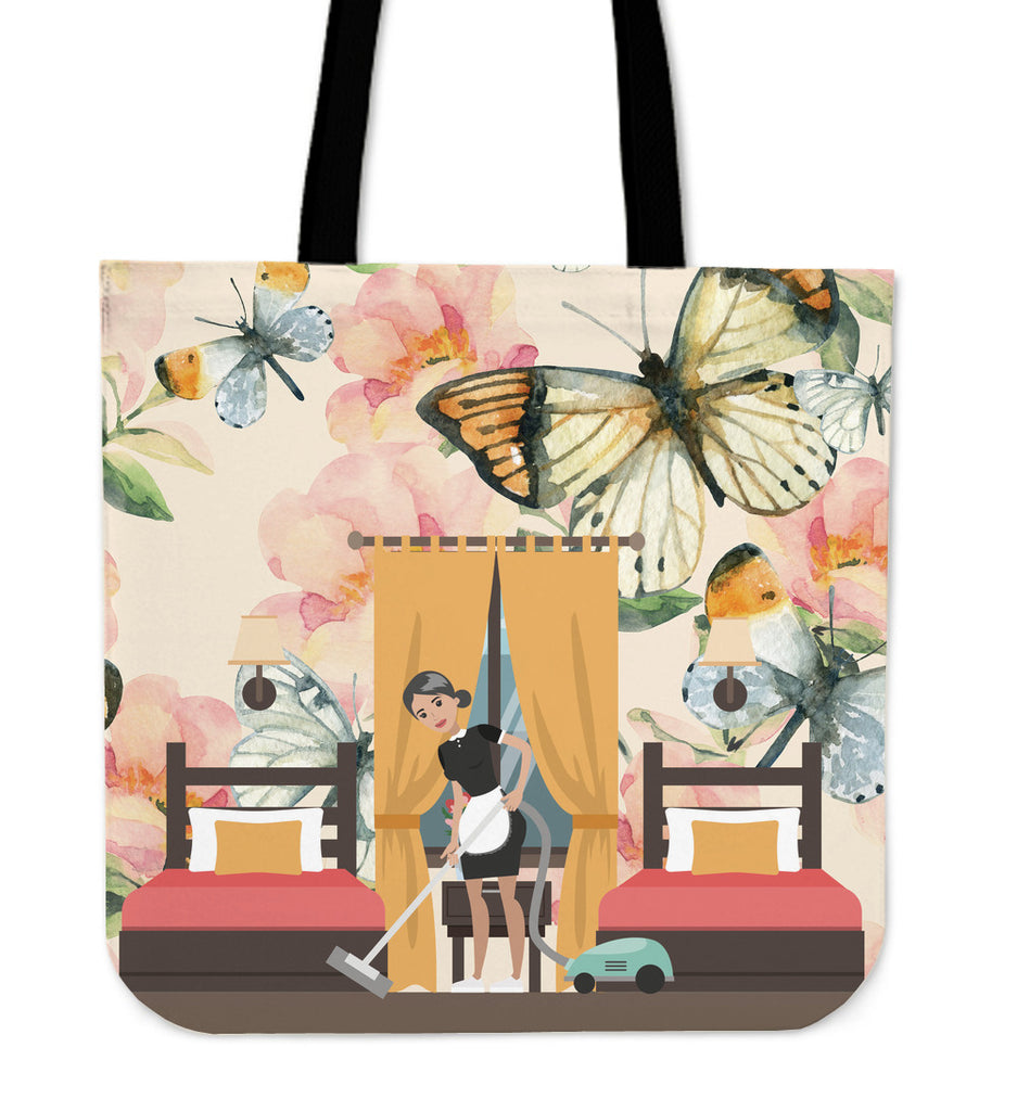Floral Maid Linen Tote Bag