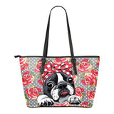 Floral Boston Terrier Tote Bag