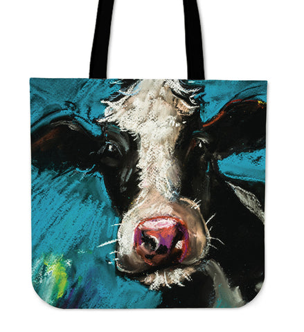 Cow Painting Linen Tote Bag