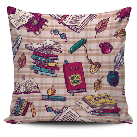 Plaid Books Pillow Cover