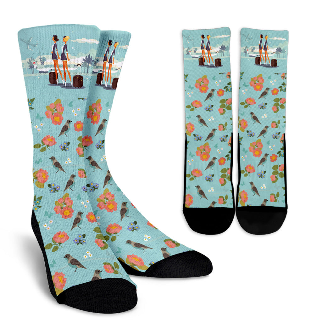 Floral Flight Attendant Socks