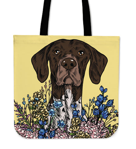 Illustrated German Short Hair Linen Tote Bag